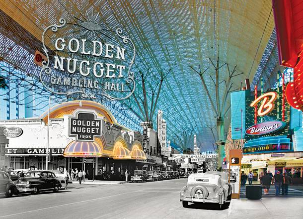 The Golden Nugget and Binion's on Fremont Street, pictured today and in 1949.