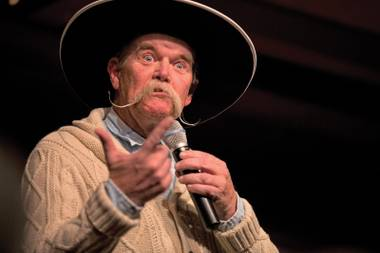 Cowboy poet: Waddie Mitchell and his mustache recite a poem during the 30th National Cowboy Poetry Gathering in Elko.