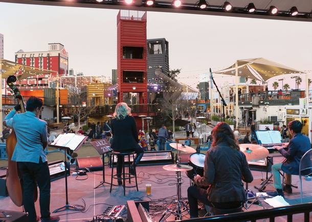 Kids at the mall: Megan Marie Ward and members of LVA student band Swayd at Container Park.