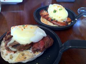 Eggs Benedict with filet mignon or spicy chorizo at La Cave's Sunday brunch.