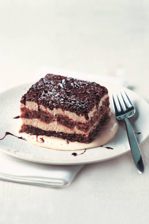 The classic tiramisu at Il Mulino is rich with espresso and coffee liqueur-drenched lady fingers and mascarpone cream.