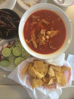 The <em>pozole</em> at El Menudazo.