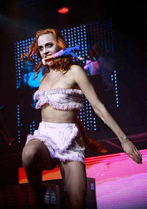 One of the burlesque performers in <em>Zombie Burlesque</em>.