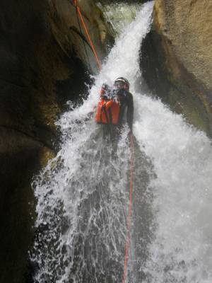A spectacular wet canyon in California, Seven Teacups tests Mike Harcarik.