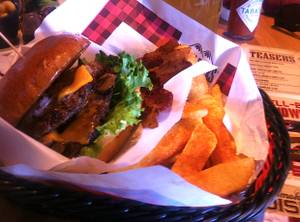The smokehouse burger at Twin Peaks.