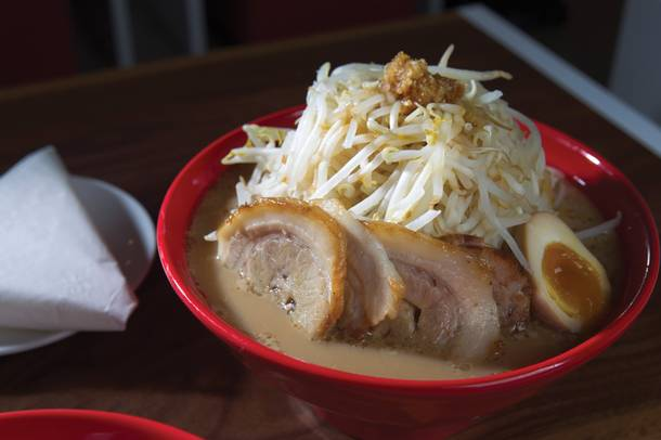 Hiromaru's tate-yama ramen packs on extra noodles.