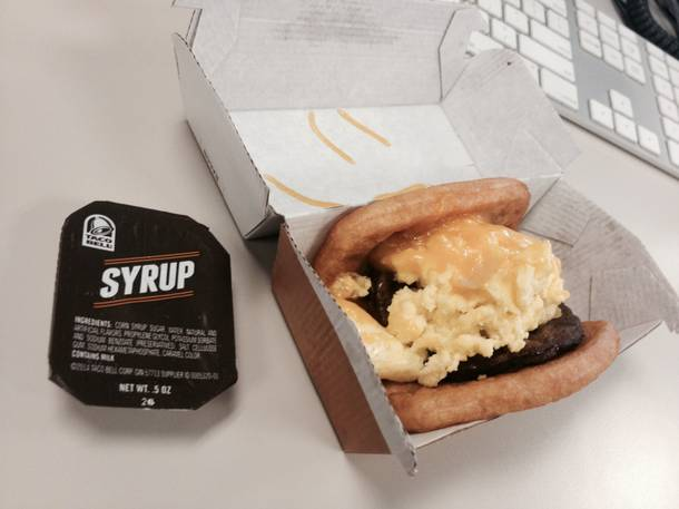 Taco Bell's waffle taco in real life. Be careful, it's squeaky.