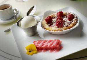 A DB Brasserie dessert, coming soon: raspberry clafoutis with yogurt-ginger gelato and rhubarb gelee.