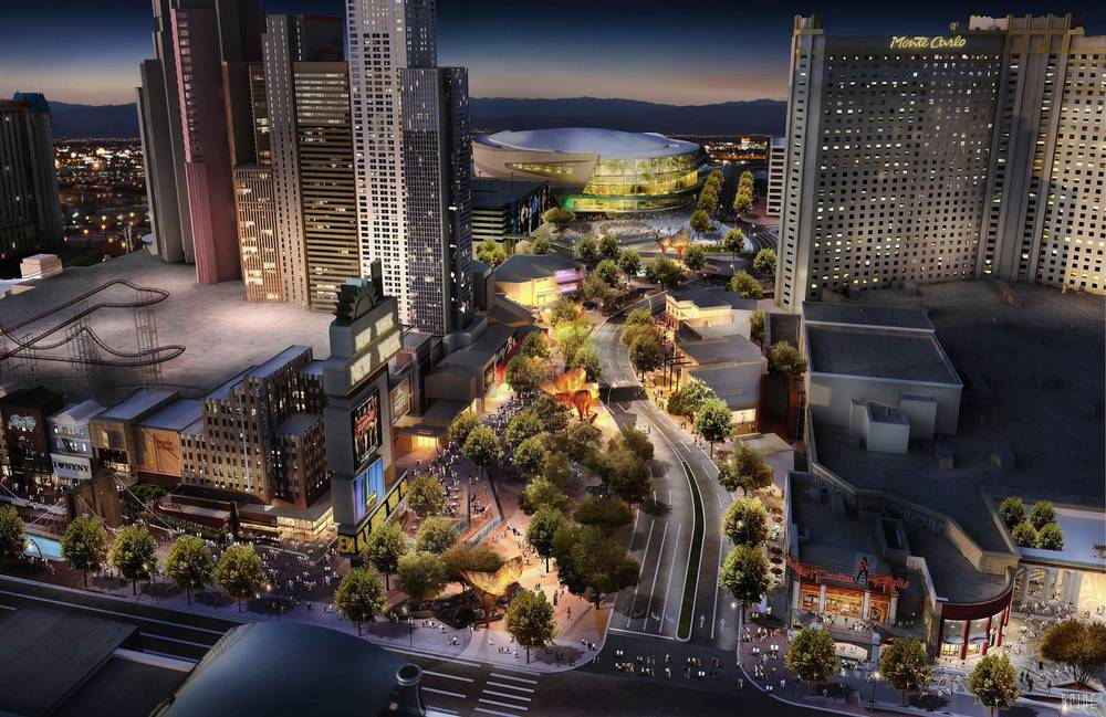Mgm S New Project The Park Will Create A Neighborhood Environment That Encompes York And Monte Carlo Resorts 20 000 Seat Arena