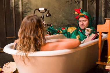 "So much magic in one tub. Piff the Magic Dragon and his magic Chihuahua sidekick Mr. Piffles in the ""socks-only"" interview zone with Weekly's Erin Ryan. The bribe? Six doughnuts from Ronald's."