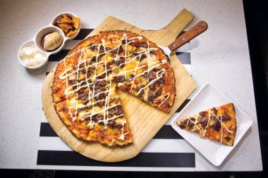 Brace yourself for the powerful flavor combinations in Q Bistro's bulgogi vegetable pizza.