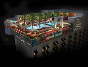 Dreamscape: A rendering of Drai's Beach Club, shaded by 35-foot palms.