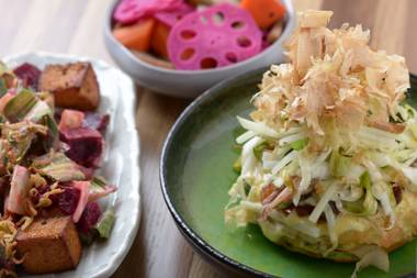 Rootveg salad to house pickles to the tongue-stunning Griddle Cake, the food at Yusho is full of surprising contrasts in flavor, texture and culinary tradition.