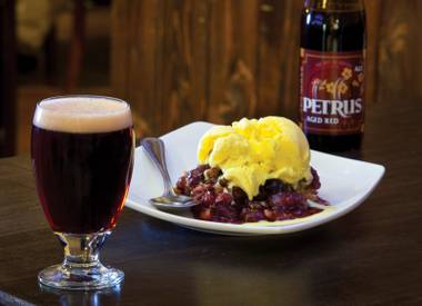 Dessert, with beer: Cherry crisp paired with Petrus Aged Red.