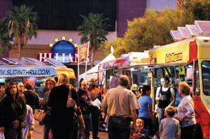 Patrons line up at food trucks at the October 2011 installment of Vegas StrEATs in Downtown Las Vegas.