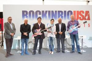 The passing of the torch—er, guitar: Friday evening Lisbon Mayor Antonio Costa passed along a ceremonial key (and two guitars) to MGM Resorts International and Cirque du Soleil, who will present Rock in Rio USA on the Strip in May 2015.