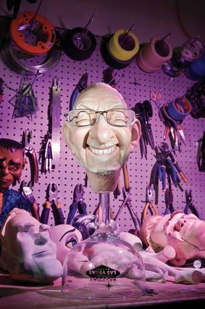 An Oscar Goodman marionette head in the shop of Scott Land
