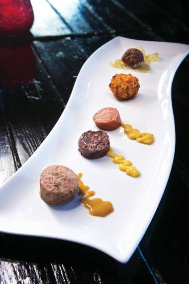 Chef Chris Palmeri began his Mind of a Chef dinner with a trio of house-made sausages, arancini and lamb meatballs.