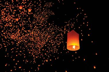 Write your own personal message on a large lantern and then send it skyward at the upcoming Rise Lantern Festival between Las Vegas and Jean in October.