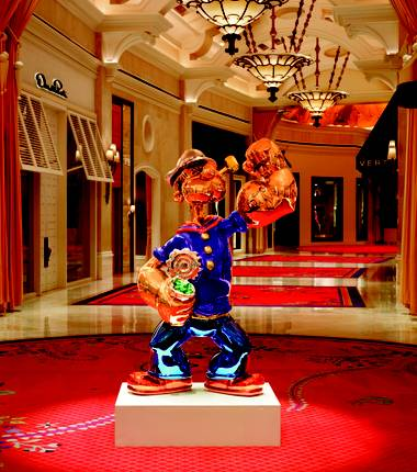 The Jeff Koons sculpture, bought by Steve Wynn at a Sotheby's auction for $28.2 million in May, is 6-foot-5 inches, 2,000 pounds of mirror-polished stainless steel.