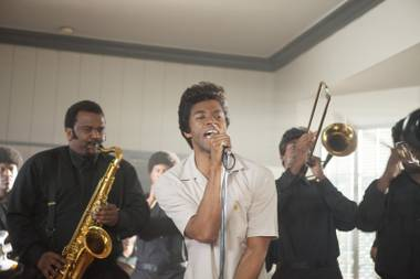 Chadwick Boseman (who played Jackie Robinson in the more stolid biopic 42) plays James Brown in Get on Up.