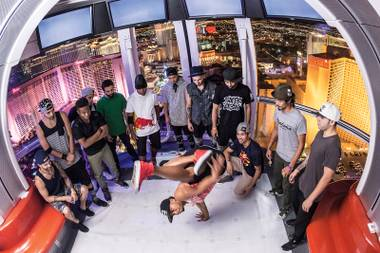 Some b-boys performed in the Linq's High Roller to help promote the upcoming Red Bull BC One North America Final at Brooklyn Bowl this weekend.