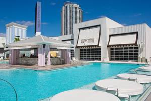 The pool and exterior of the Foxtail lounge at SLS Las Vegas before the resort opened to guests.