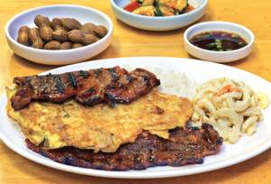 A meat <em>jun</em> and kalbi rib combo plate at Island Style.