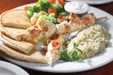 Our favorite dish on this menu is the chicken souvlaki plate with rice pilaf, warm pita and creamy tzatziki.