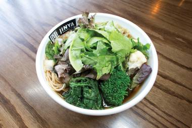 Jinya's vegetarian ramen is satisfying and deeply flavored despite its lack of meat.