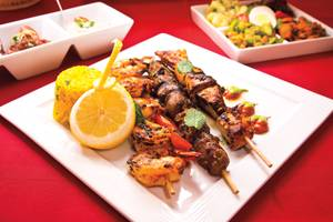 Grilled meat brochettes, spreads and the Moroccan Salad make an ideal meal at Argana.