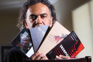 Black Mountain Institute resident Hossein Abkenar's books, which have been banned in his native Iran, focus on women's issues and war.