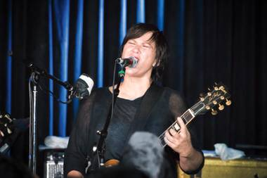 Kim Deal, front and center at the Bunkhouse.