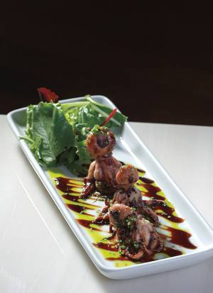 A slightly menacing dish of grilled octopus.
