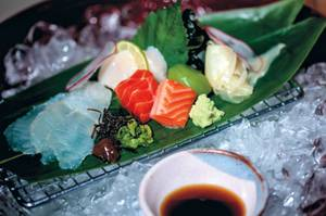 Chef Takeshi Omae imports his sashimi from the famed Tsukiji Fish Market in Tokyo.