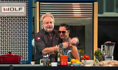 Chefs Jonathan Waxman and Nancy Silverton cooked cioppino and sauces onstage at Container Park during Life Is Beautiful.