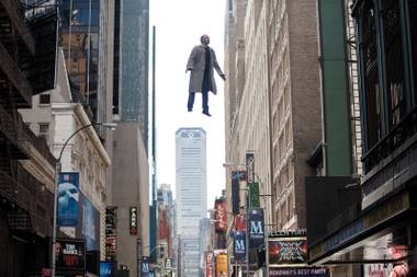 Michael Keaton flies above the city in Birdman (not Batman).