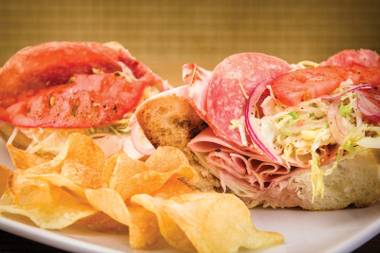 Parma's eponymous sandwich is loaded with salami, sopressata, ham, mortadella, peperoni, provolone and parmesan.