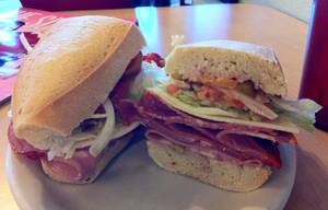 Montesano's Italian sub boasts an extra-tall meat stack.