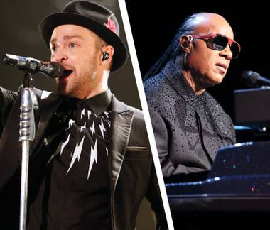 Justin Timberlake (left) and Stevie Wonder play MGM Grand this weekend. Not together, though.