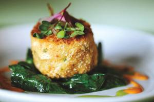 David Clawson's meaty take on a crab cake satisfies.