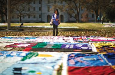 The NAMES Project AIDS Memorial Quilt, a commemoration for those who have died from AIDS, on display at Emory University.