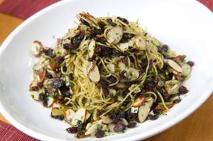 Pasta perfection: Angel hair with garlic, anchovy, fresh parsley, almonds and currants.
