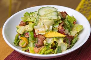 Pay attention to the sriracha-spiked dill dressing on the Perch's chopped salad.