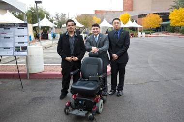 Edgar Solorio, Adam Wolverton and David Nguyen present the EEG Controlled Wheelchair at the Fall 2014 UNLV Engineering Senior Design Competition.Thursday Dec. 4, 2014.