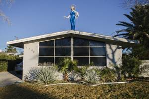 A copy of the Blue Angel stands atop a Las Vegas home