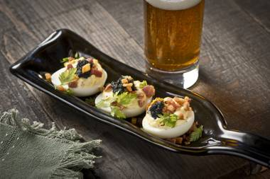 "Carson Kitchen's ""Devil's Eggs,"" one item featured on the Downtown restaurant's NYE 2014 menu."