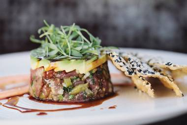 Big-eye tuna tartare with avocado, spicy mayo and sesame wontons.