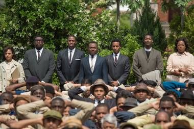 Martin Luther King Jr. (David Oyelowo, center) and his supporters stage a protest in the riveting Selma.