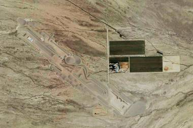 "Aerial view of Michael Heizer's ""City"" under construction in Nevada."